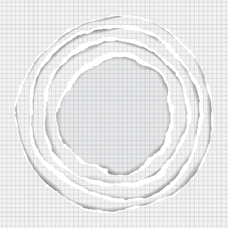 Realistic Ripped Squared Paper Circle Elements