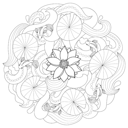 Flower and fishes coloring page