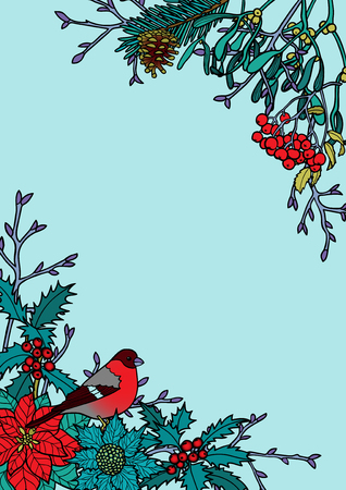 Winter plants with bird pattern. Nature square colorful angular A4 composition on white background for greeting cards, mock ups, coloring page and covers with text place. Illustration