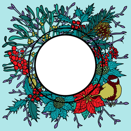 Winter plants with birds frame. Nature round colorful composition on blue background for greeting cards, mock ups, coloring page and covers with text place. Illustration