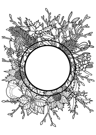 Winter plants with bird frame. Nature round black and white A4 composition for greeting cards, mock ups, coloring page and covers with text place. Illustration