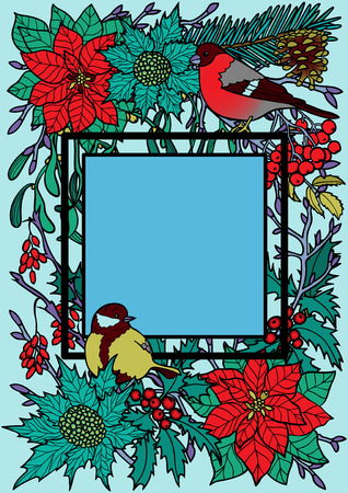 Winter plants with birds square frame. Nature colorful A4 composition on blue background for greeting cards, mock ups, coloring page and covers with text place.