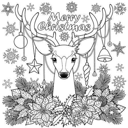 Ciervos De Navidad Con La Composición De Objetos Invierno