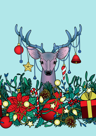 a4 borders: Christmas deer with objects seamless horizon border. Winter square new year colorful wallpaper for greeting cards, mock ups, covers and textile prints with text place. Illustration
