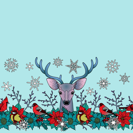 Deer and bird seamless horizon border. Winter square new year colorful wallpaper for greeting cards, mock ups, covers and textile prints with text place.