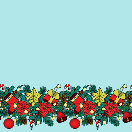 Christmas ans New Year seamless horizon border. Winter square colorful wallpaper for greeting cards, mock ups, covers and textile prints with text place.