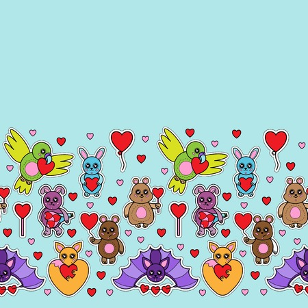 Animals stickers with hearts seamless border. Children toys with love signes wallpaper. Vettoriali