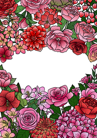 Garden flowers and leaves mock up. Floral romantic colorful template for covers, greeting cards, postcards and invitations on white background with text place. Vectores