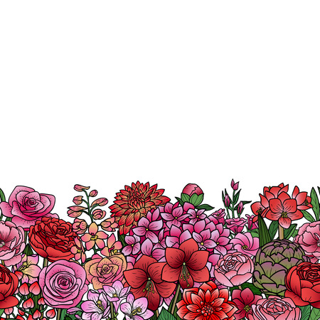 Garden Flowers Seamless Border Vectores