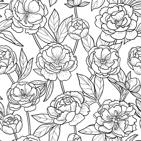 Peony flowers and leaves seamless pattern. Floral romantic outline wallpaper on white background.