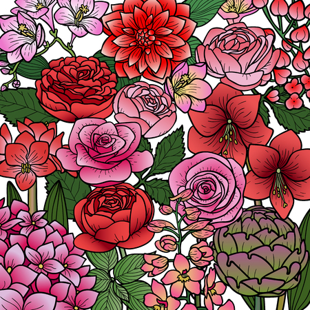 Garden Flowers Pattern Vector illustration.