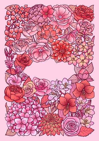 Garden Flowers pink mock-up vector illustration. Illustration