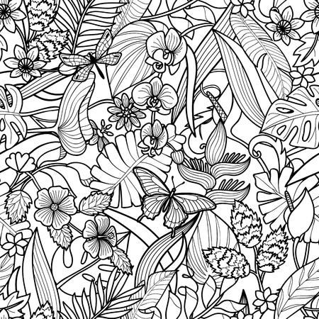 熱帯の花、蝶とトンボのシームレスなパターンを持つ植物。グリーティングカード、着色ページのための白い背景に花の正方形の壁紙。