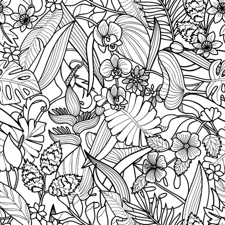 Tropical flowers and plants seamless pattern. Floral square wallpaper on white background for greeting cards, coloring pages.