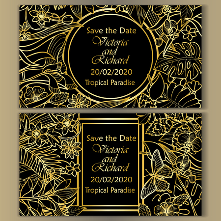 Tropical flowers mock ups set. Outline golden luxury typography composition with frames. Banner template collection for wedding, birthday greeting cards, invitation with text place. Illustration
