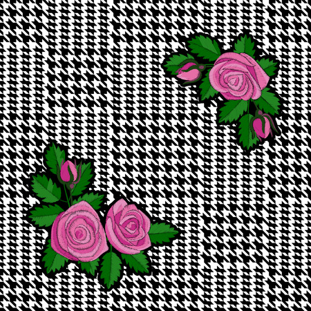 Check Fashion Seamless Pattern with Embroidery Roses