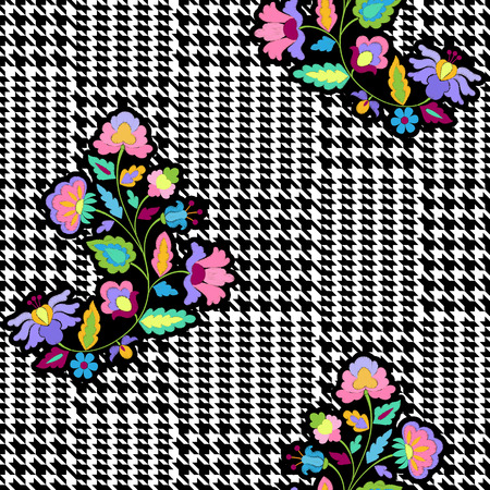 Check Fashion Seamless Pattern with Embroidery Flowers Illustration