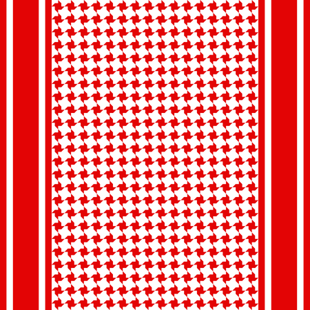 Striped keffiyeh seamless pattern. Traditional vector red and white textile print.