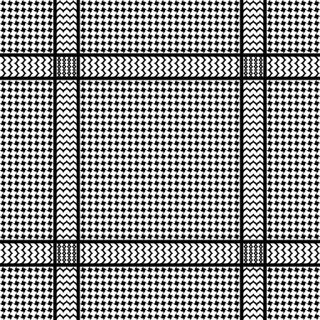 Check keffiyeh seamless pattern. Traditional vector black and white textile print.
