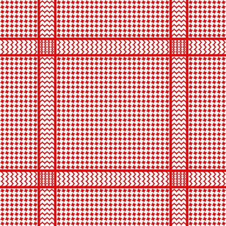 Check keffiyeh seamless pattern. Traditional vector red and white textile print.  イラスト・ベクター素材