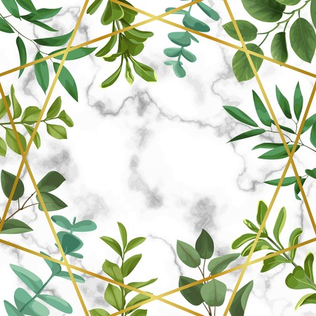 Template Frame with greenery leaf illustration on white background. Vettoriali
