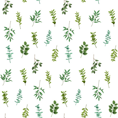 Greenery leaf seamless pattern illustration on white background.