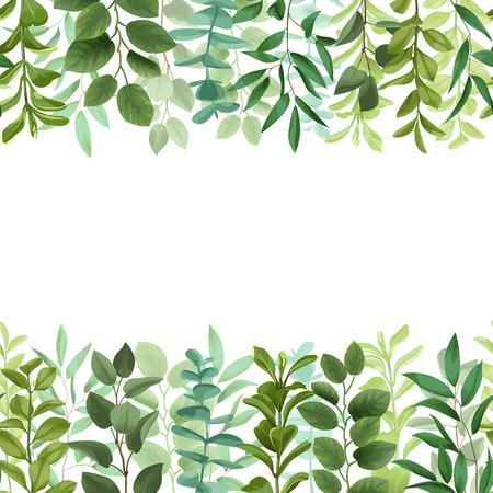 Greenery leaf seamless double border illustration on white background. 일러스트