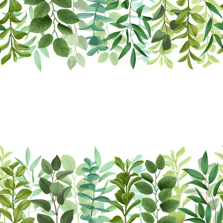 Greenery leaf seamless double border illustration on white background. Иллюстрация