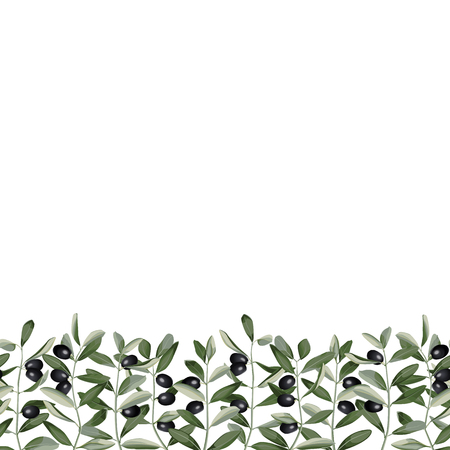 Olive Branch Seamless Border Vectores