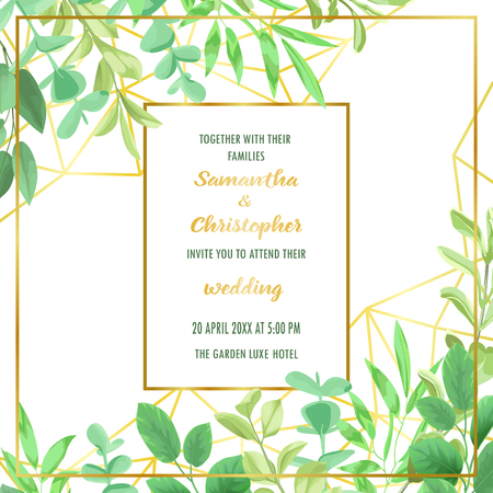 Wedding invitation with Geometric Frame and Greenery