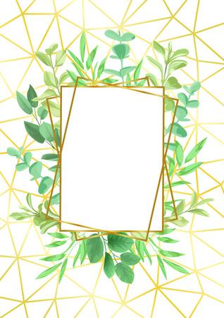 ゴールド幾何学的フレームと緑