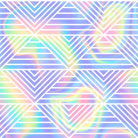 Abstract luxury seamless pattern with triangles and stripes. Repeat white and rainbow foil wallpaper for backdrop, textile prints. Illustration