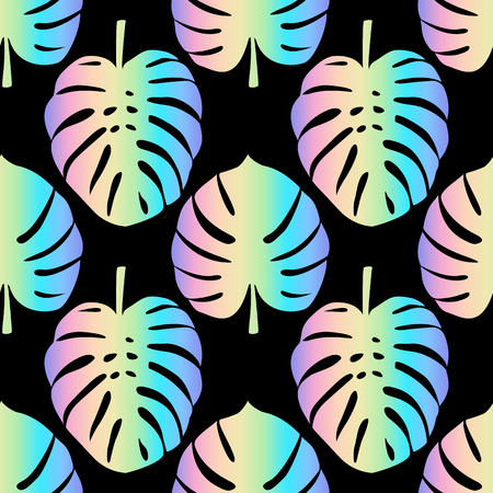 Holographic seamless pattern of monstera leaves silhouette isolated on black background. Tropical fashion wallpaper, trendy textile print.