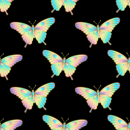 Holographic seamless pattern with butterfly isolated on black background. Nature fashion wallpaper, trendy textile print. 矢量图像