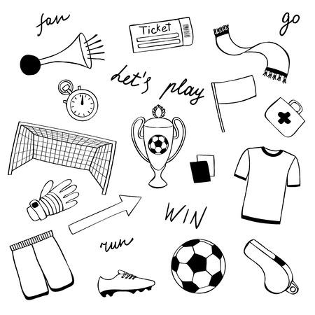 Football Doodle Set Illusztráció