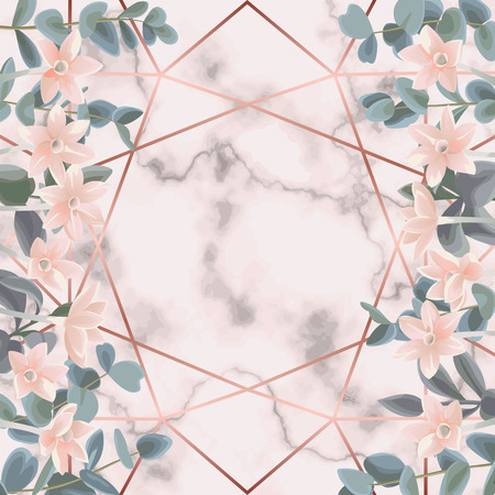 Pink Marble and Geometric Background with Eucalyptus and Flowers