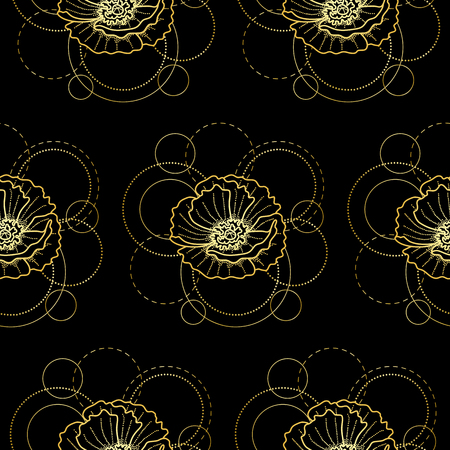 Seamless pattern with gold poppy and circles on black background Vectores