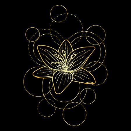 Tattoo with lily and circles on black background