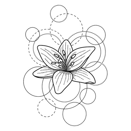Tattoo with lily and circles on white background Ilustração