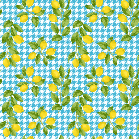 Lemon and Check Seamless Pattern Vectores