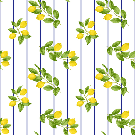 Lemon Striped Seamless Pattern