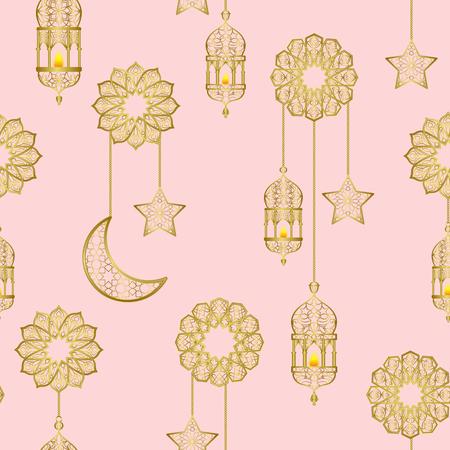 Arabic golden lantern seamless pattern Vectores