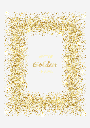 Luxury golden frame on white background. Gold glitter rectangular. Template with glitter for logo, greetind and birthday card, certificate, gift voucher and covers.