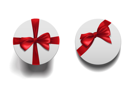 Closed low and high boxes with shadows set isolated on white background. White round boxes with red ribbons and bows template.