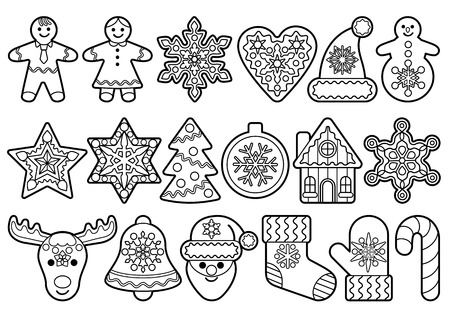 Gingerbread black outline set isolated on white background. Vector objects for forms for gingerbread toys, holiday items, Christmas and New Year symbols, icons, coloring book for little children.
