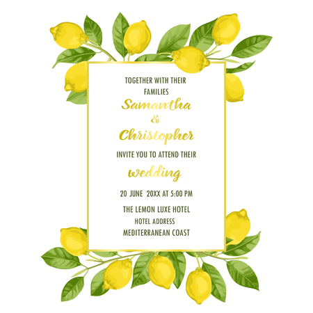 Wedding invitation card with lemon brunches in watercolor style and golden frame on white background. Fashion mock up, template for greeting, birthday cards, posters with text place.