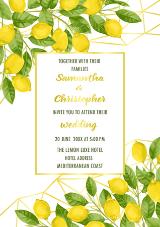 Wedding invitation card with lemon brunches in watercolor style and gold frame on geometric golden background. Fashion A4 mock up, template for greeting, birthday cards, posters with text place.