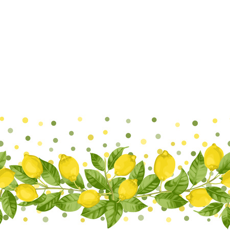 Lemon brunches seamless border in watercolor style and polka dot isolated on white background. Summer repeat wallpaper in mediterranean style, fashion textile print, posters backdrop.