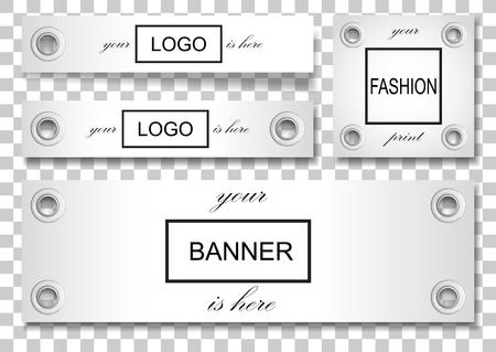 Bannière sertie d'oeillets argentés isolés sur fond carré. Modèle d'étiquette pour textile, affiches, arrière-plan pour les œuvres d'art, autocollants avec place de texte. Fittrngs de mode réaliste de vecteur. Vecteurs