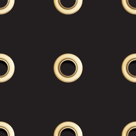 Modèle sans couture oeillet doré isolé sur fond noir. Pois en métal avec imitation de trous. Fond d'écran de vecteur avec anneaux en or, impression textile de mode, toile de fond géométrique abstraite.